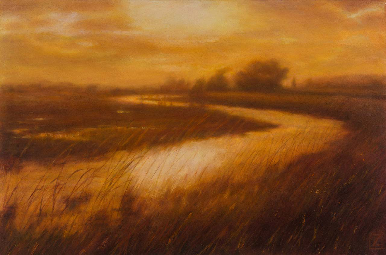 oil painting of sunset landscape in the skagit valley