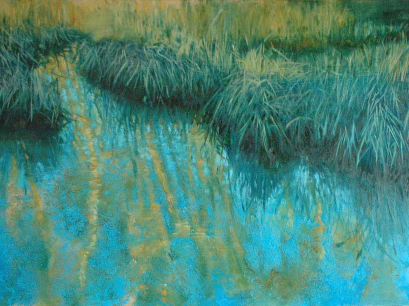 painting of water and reeds