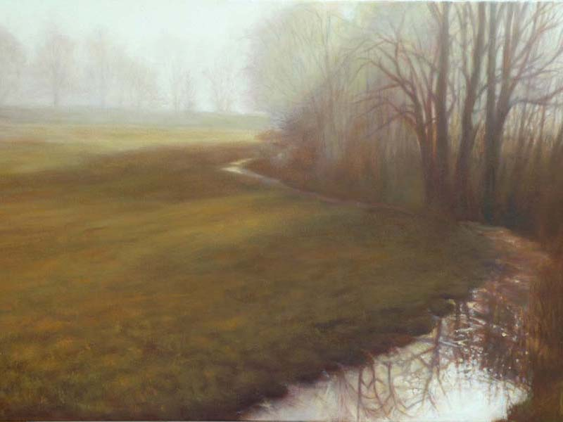 painting of trees and field on foggy day