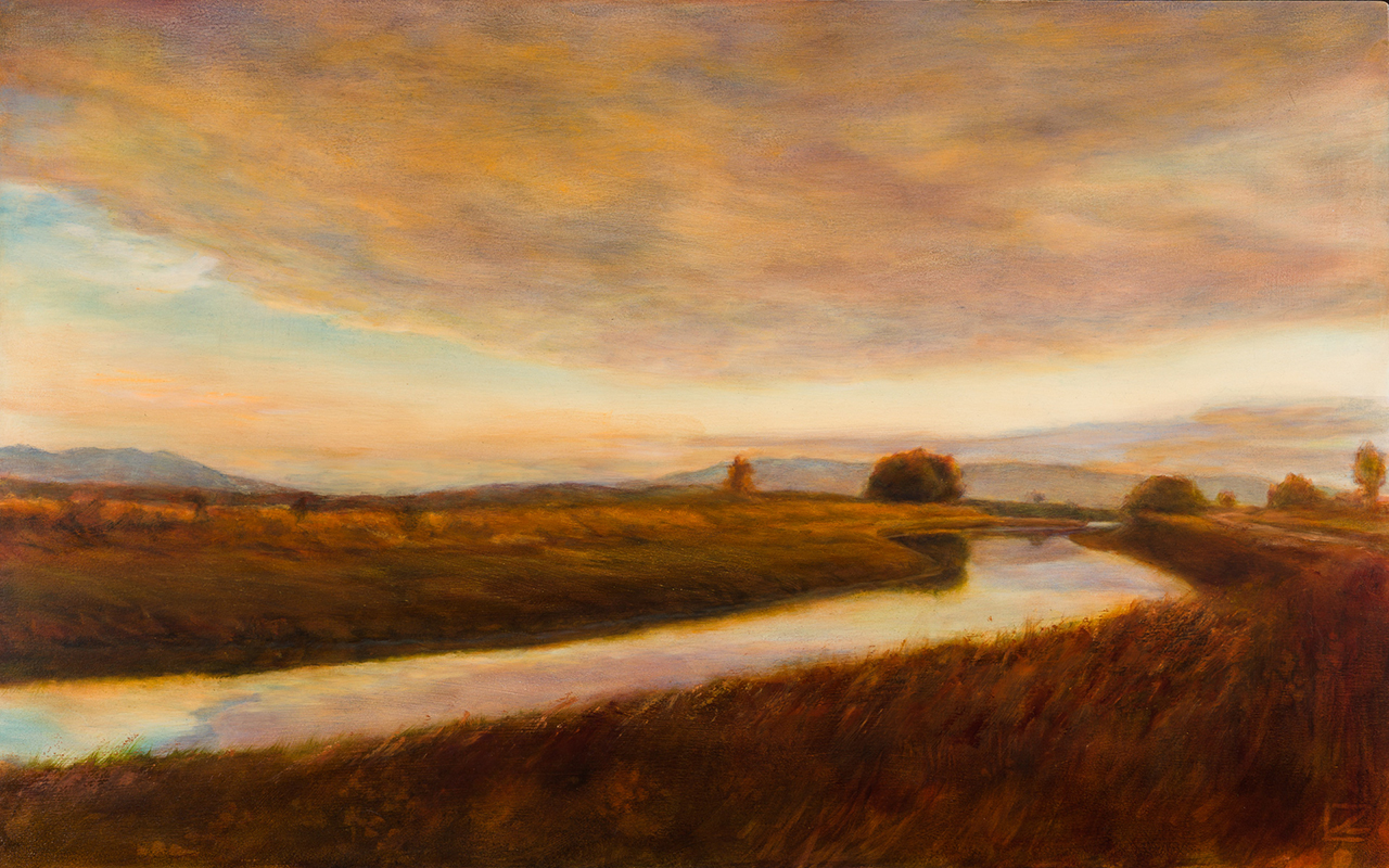 oil painting of sunset in the skagit valley
