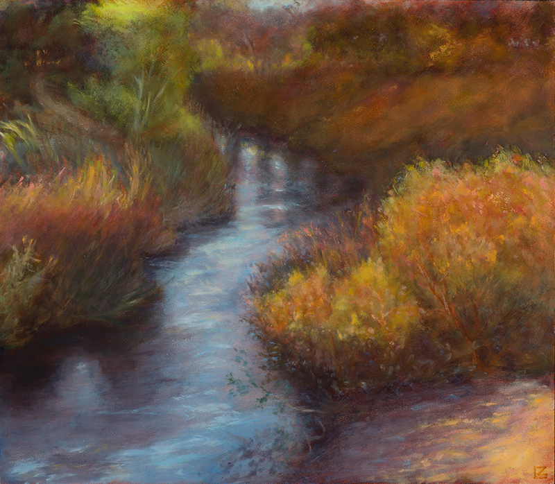 colorful painting of sun on a small creek