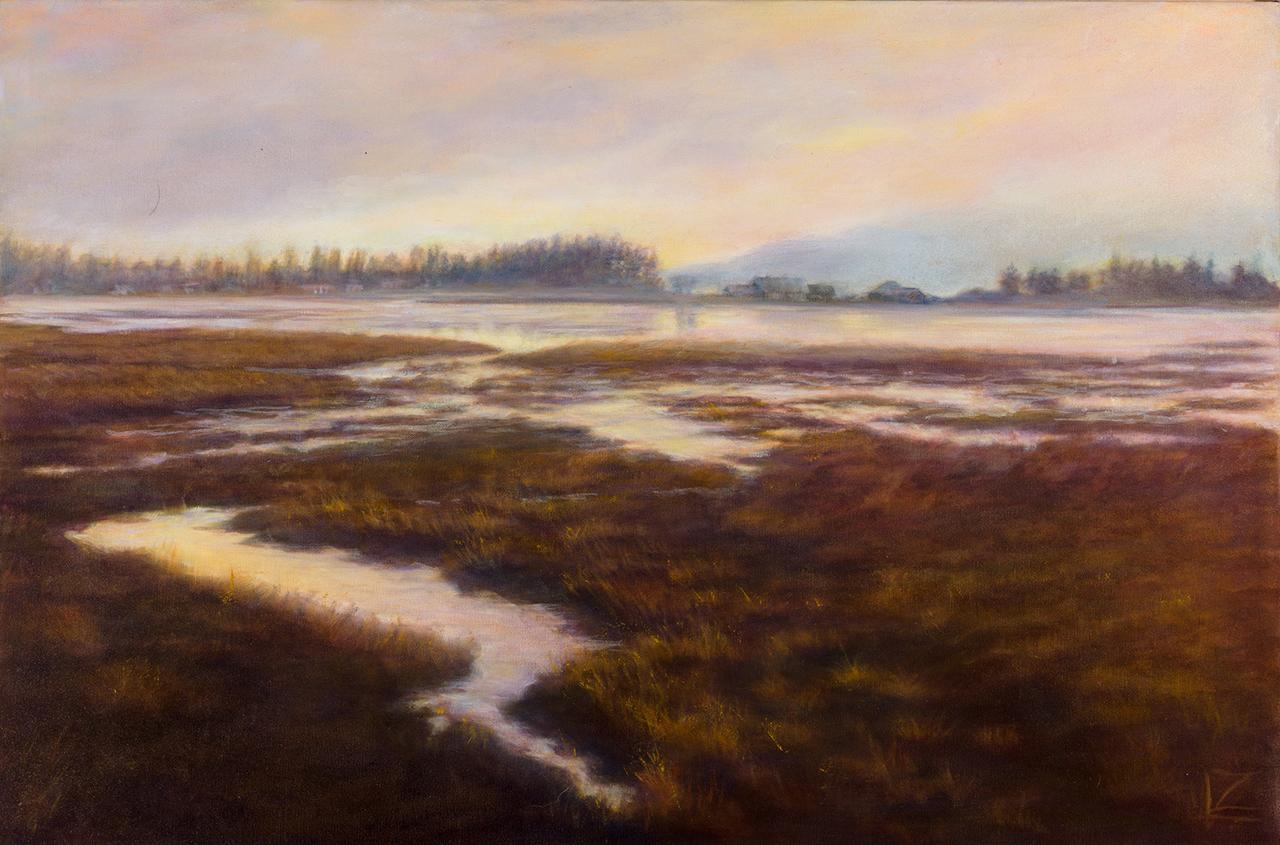 oil painting of Skagit estuary