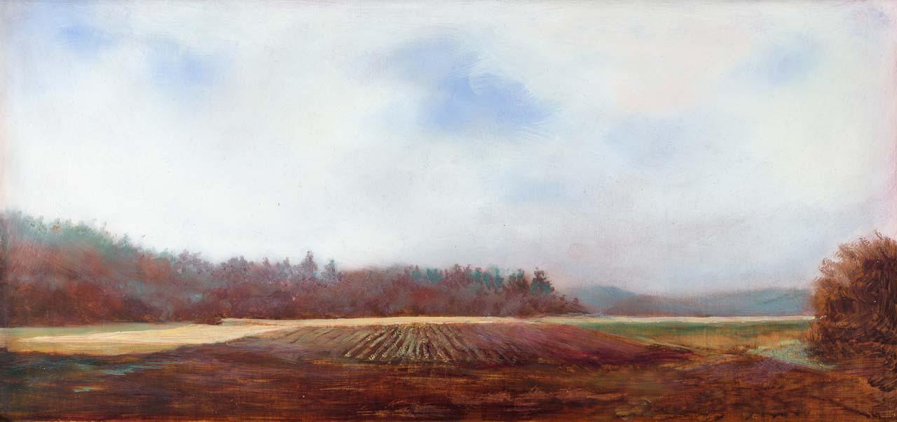landscape painting of mist over skagit farmland