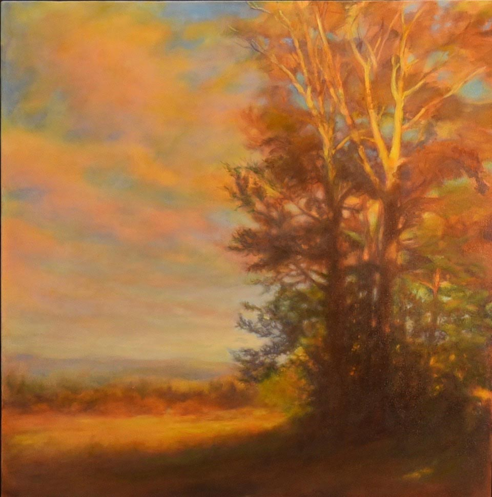 oil painting of a tree at sunset