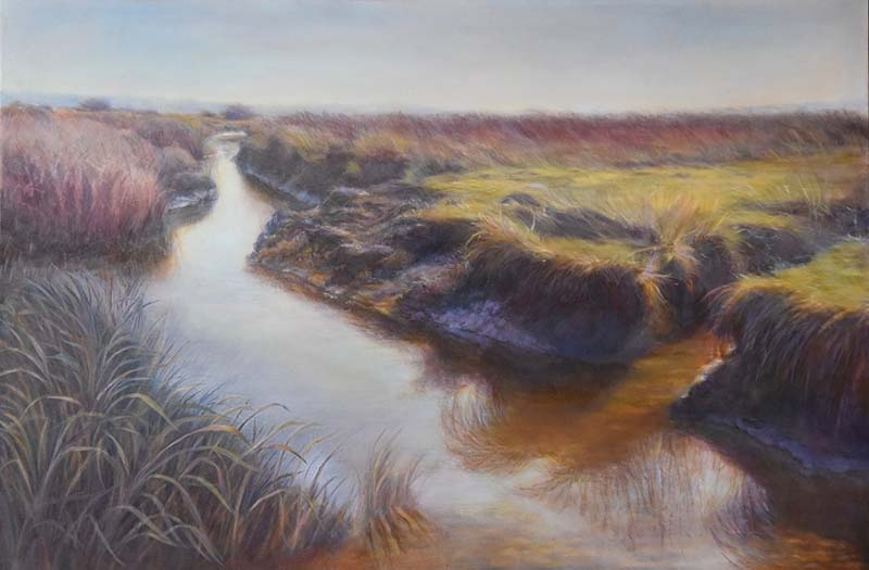 oil painting of the skagit mud flats