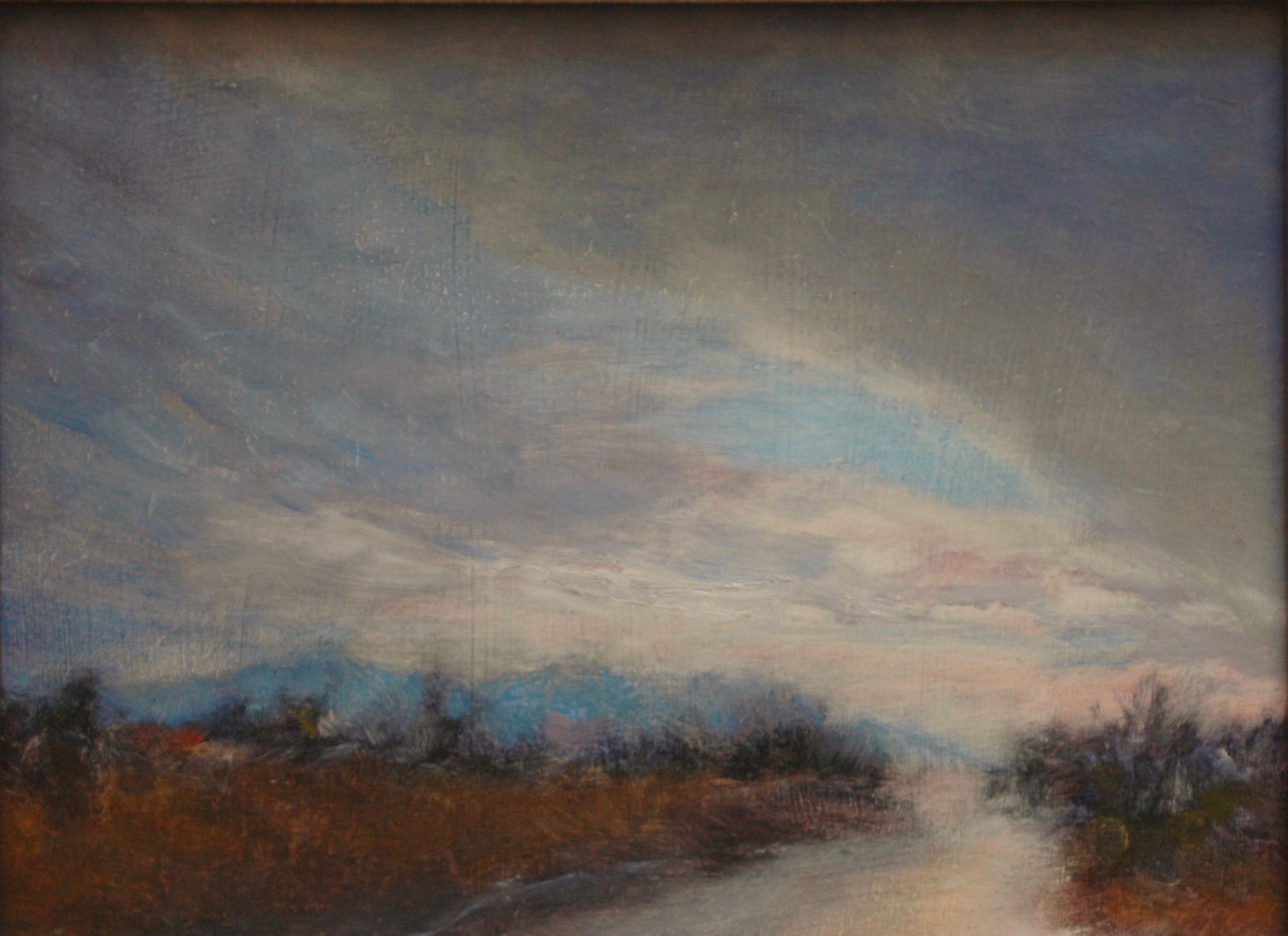 landscape painting of red river by artist lynn zimmerman