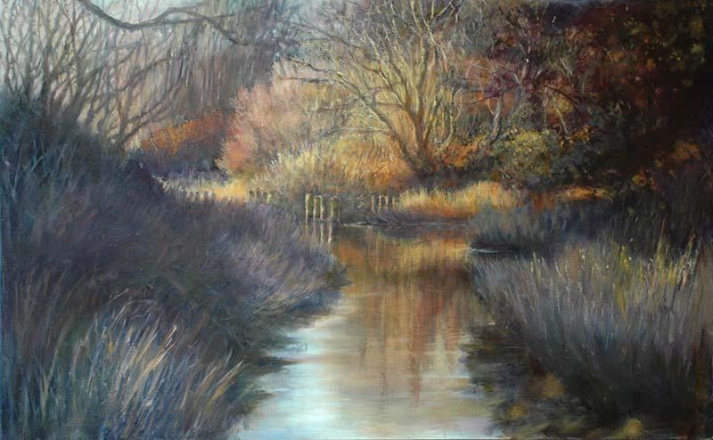 oil painting of river by Bellingham artist lynn zimmerman