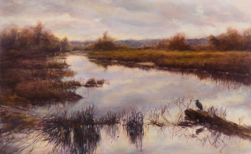 painting of Skagit wetlands and heron
