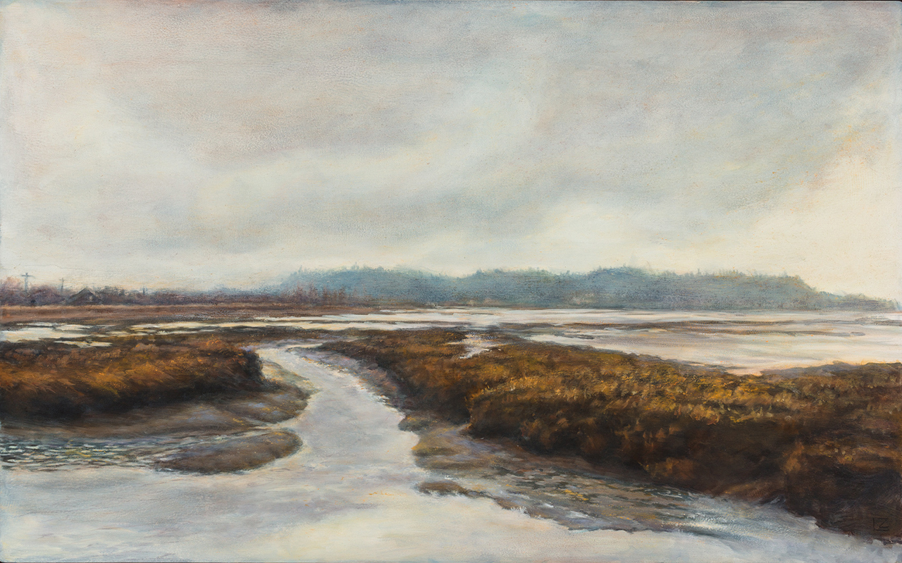 painting of a gray day in the skagit valley by lynn zimmerman