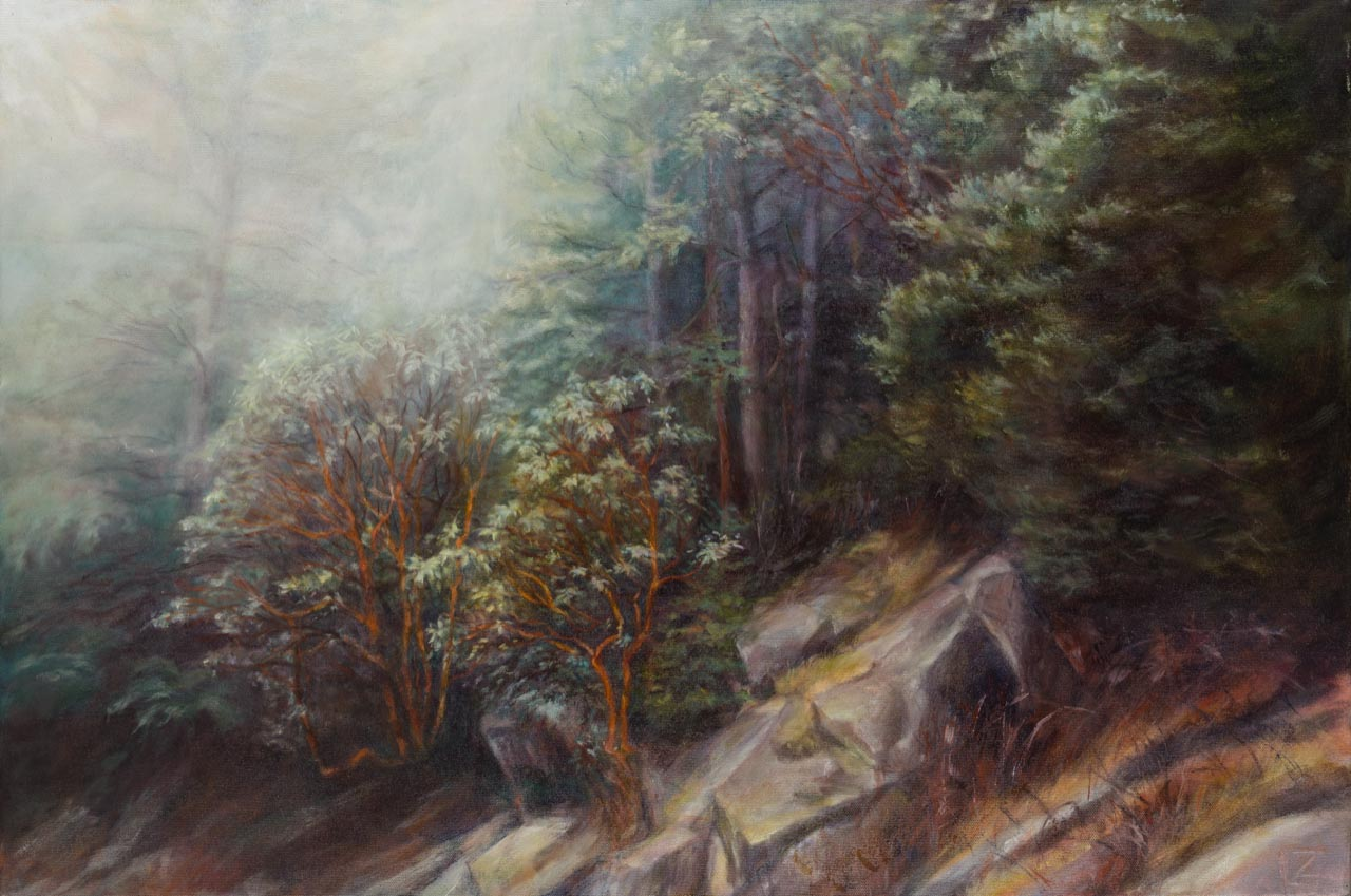 oil painting of undergrowth in the chuckanut mountians
