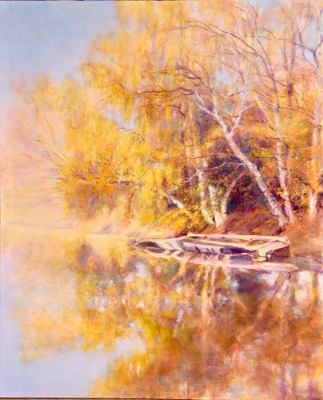 oil painting of cottonwood trees in yellow